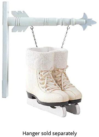 K & K  Interiors White Resin Skates Hanging Ornament