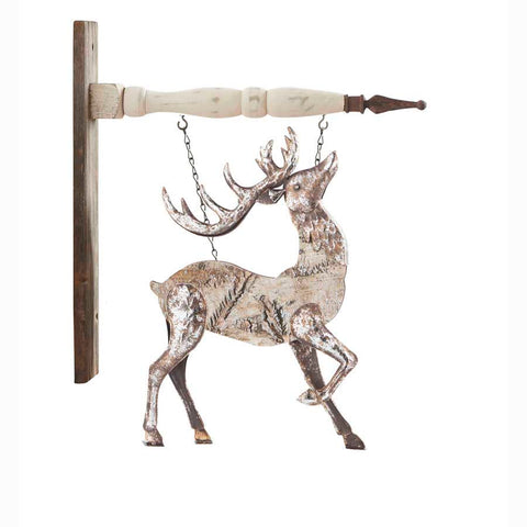 K & K  Interiors Antiqued Metal Deer Head Up Hanging Ornament