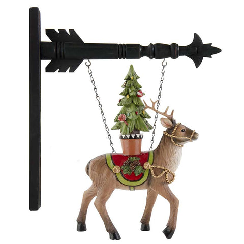 K & K Interiors Resin Reindeer with Christmas Tree Hanging Ornament