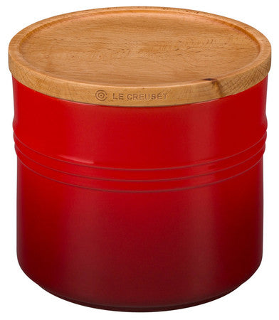 Le Creuset 1.5 Qt Cherry Canister With Wood Lid