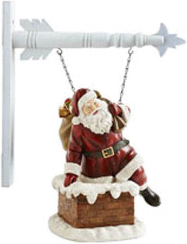 K & K Interiors Resin Santa Climbing in Chimney Hanging Ornament