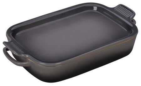 Le Creuset Flint Oyster Rectangular Dish with Platter Lid