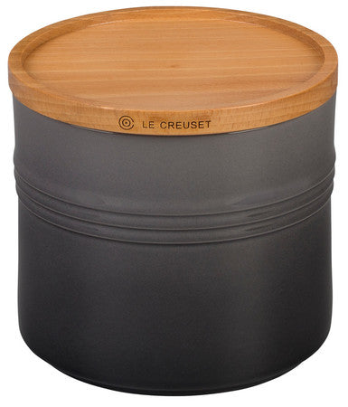 Le Creuset 1.5 Qt Flint Oyster Canister With Wood Lid