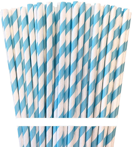 Partypartners Paper Straws Bright Blue
