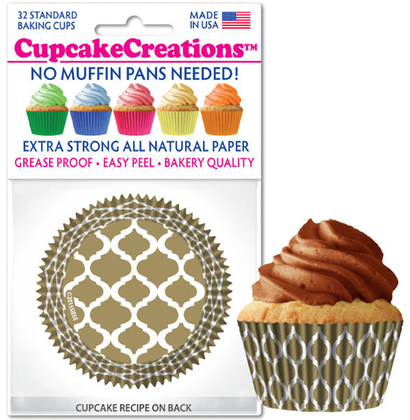 Siege Cupcake Creations Gold Quatrefoil Baking Cups