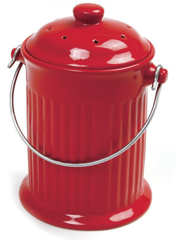 Norpro 1 Gallon Red Ceramic Compost Keeper