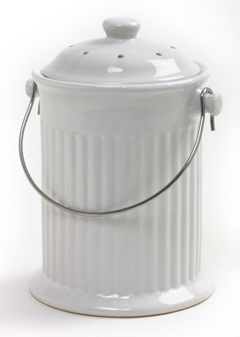 Norpro 1 Gallon White Ceramic Compost Keeper