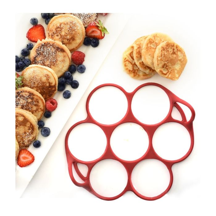 Norpro Silicoone Silver Dollar Pancake Egg Ring 7 Count Red