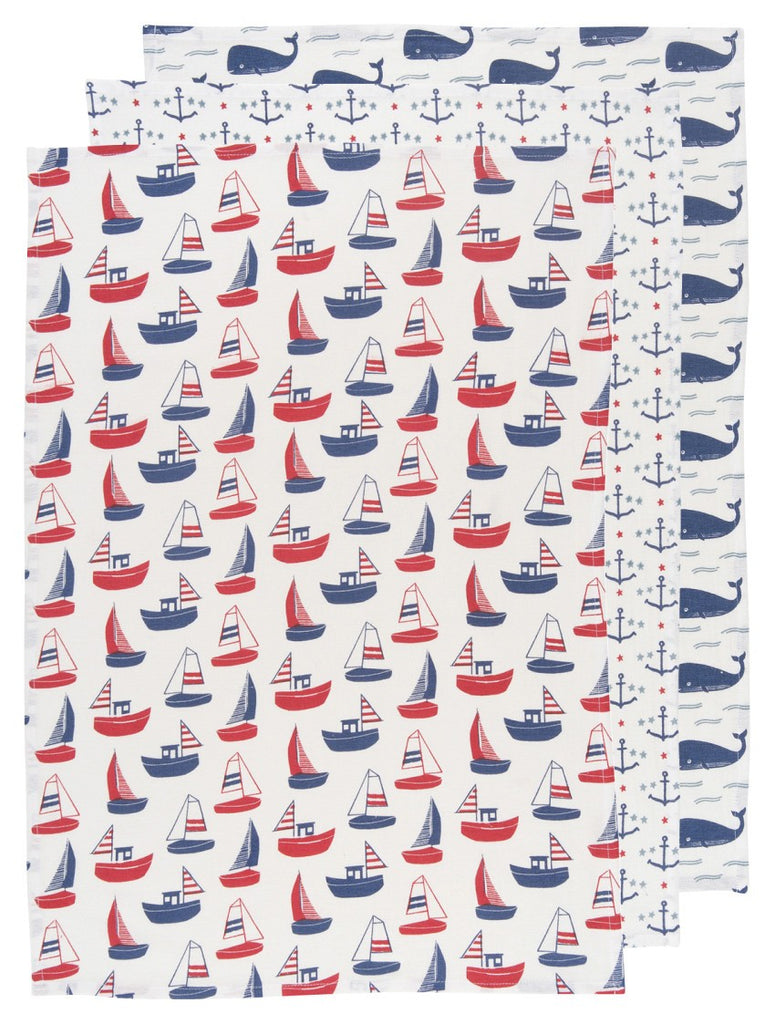 Now Designs Baker's Floursack Ahoy Matey Towels Set of 3