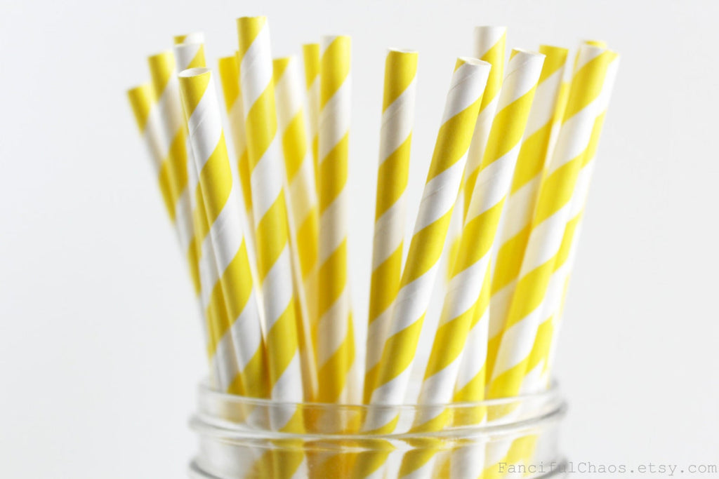 Partypartners Paper Straws Yellow