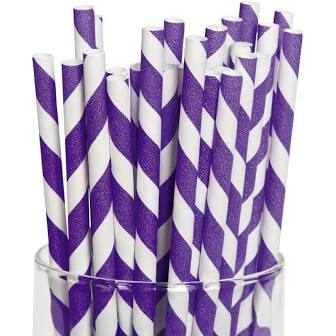 Partypartners Paper Straws Purple