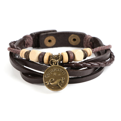 JEWELRIESHOP Genuine Leather Bracelet Horoscope Bracelet with Constellation Zodiac Sign and Zodiac Charm