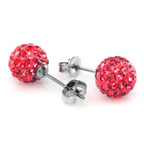 8mm Bling Bling Rhinestones Crystal Fireball Disco Ball Ball Stud Earrings, Stainless Steel, Hypoallergenic