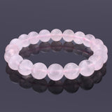 Rose Quartz, 10mm, Healing Power Crystal Elastic Stretch Beaded Bracelet