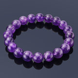Amethyst, 10mm, Healing Power Crystal Elastic Stretch Beaded Bracelet