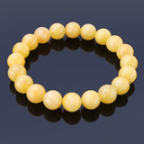 Yellow Jade, 10mm, Healing Power Crystal Elastic Stretch Beaded Bracelet