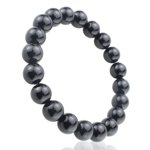 Black Onyx, 10mm, Healing Power Crystal Elastic Stretch Beaded Bracelet