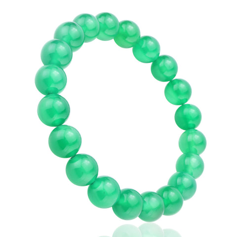 Green Agate Jade, 10mm, Healing Power Crystal Elastic Stretch Beaded Bracelet