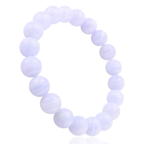 Blue Lace Agate, 10mm, Healing Power Crystal Elastic Stretch Beaded Bracelet