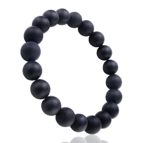 Matt Black Onyx, 10mm, Healing Power Crystal Elastic Stretch Beaded Bracelet
