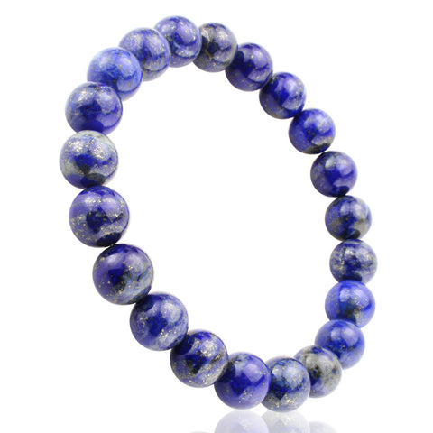 Blue Lapiz Lazuli, 10mm, Healing Power Crystal Elastic Stretch Beaded Bracelet