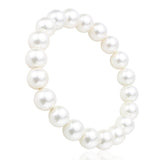 White Shell Pearl, 10mm, Healing Power Crystal Elastic Stretch Beaded Bracelet