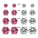 8 Pairs 2 Mixed Color in 4 Sizes Wholesale Lot Stainless Steel Round Cubic Zirconia Stud Earrings