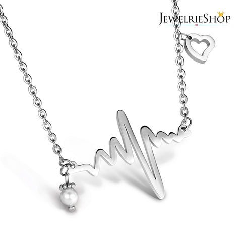 JEWELRIESHOP Heartbeat Necklace Ekg Necklace Nurse Gifts Heartbeat Jewelry Color Silver (18-20 inches chain)