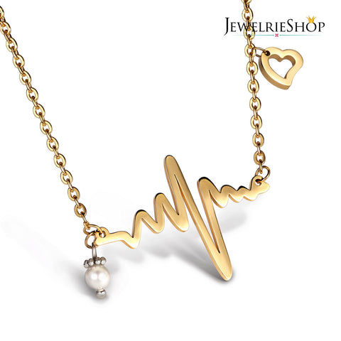 JEWELRIESHOP Heartbeat Necklace Ekg Necklace Nurse Gifts Heartbeat Jewelry Color Gold (18-20 inches chain)