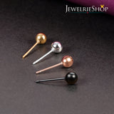 JEWELRIESHOP Stud Earrings Silver Ball Earrings Gold Ball Earrings Rose Gold Ball Earrings Black Ball Earrings Set Shiny Assorted Size and Colors Set Unisex (8pairs/set – size 6mm / 7mm )