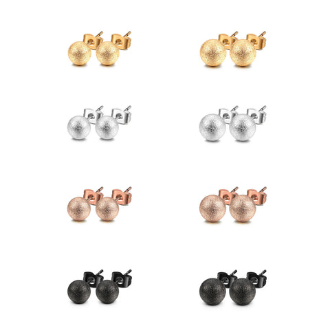 JEWELRIESHOP Stud Earrings Silver Ball Earrings Gold Ball Earrings Rose Gold Ball Earrings Black Ball Earrings Set Matt Assorted Size and Colors Set Unisex (8pairs/set – size 3mm / 4mm )