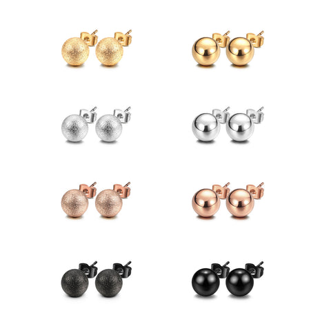 JEWELRIESHOP Stud Earrings Silver Ball Earrings Gold Ball Earrings Rose Gold Ball Earrings Black Ball Earrings Shiny and Matt Assorted Colors Set Unisex (8pairs/set – size 5mm)