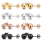 JEWELRIESHOP Stud Earrings Silver Ball Stud Earrings Gold Ball Earrings Rose Gold Ball Earrings Black Ball Earrings Shiny and Matt Assorted Colors Set Unisex (8pairs/set – size 8mm)