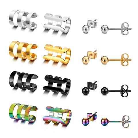 JEWELRIESHOP Stainless Steel Ear Cuff Clip On Earrings (8 Pairs Set of Non Piercing Cartilage Earrings and Studs for Women and Men
