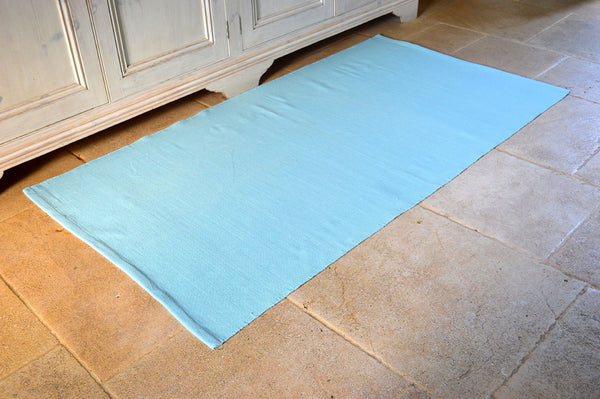 Floor Rug, 100% Cotton Flat Weave Azure Blue 2 Sizes