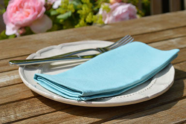 Napkins, Plain Dyed 41x41cm Azure Blue Pack of 4