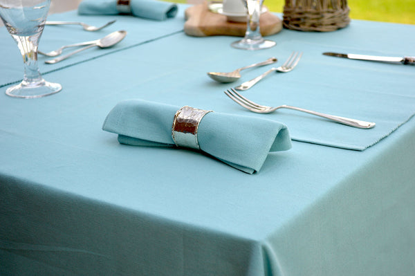Tablecloth, 100% Cotton Plain Dyed Azure Blue 12 Sizes Square Round Oblong