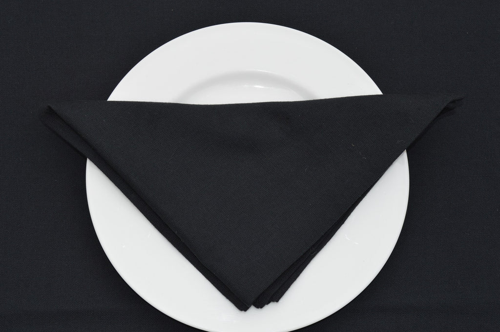 Napkins, Plain Dyed 41x41cm Black Pack of 4