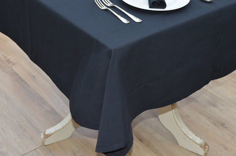 Tablecloth, 100% Cotton Plain Dyed Black 12 Sizes Square Round Oblong Oval