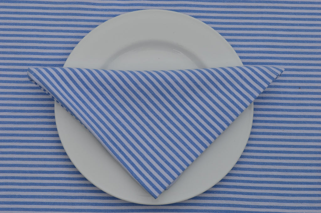Napkins, Bordeaux Stripe 41x41cm Blue / White pack of 4