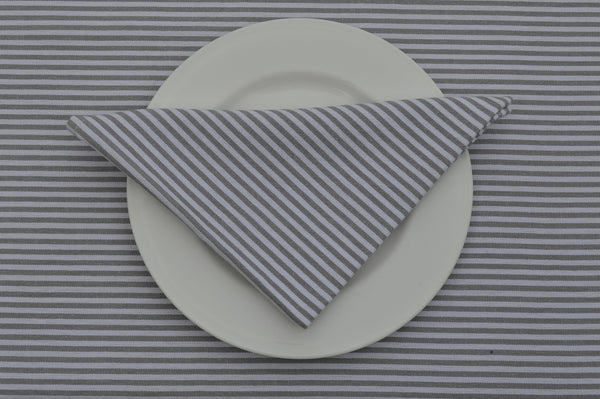 Napkins, Bordeaux Stripe 41x41cm Grey / White pack of 4