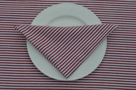 Napkins, Bordeaux Stripe 41x41cm Red / White pack of 4