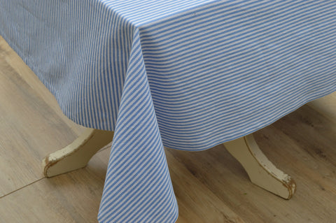 Tablecloth, 100% Cotton Bordeaux Stripe Blue/White 10 Sizes Square Round Oblong