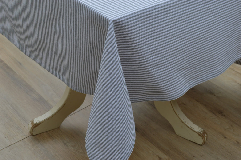 Tablecloth, 100% Cotton Bordeaux Stripe Grey/White 10 Sizes Square Round Oblong