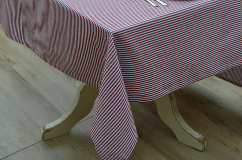 Tablecloth, 100% Cotton Bordeaux Stripe Red/White 10 Sizes Square Round Oblong