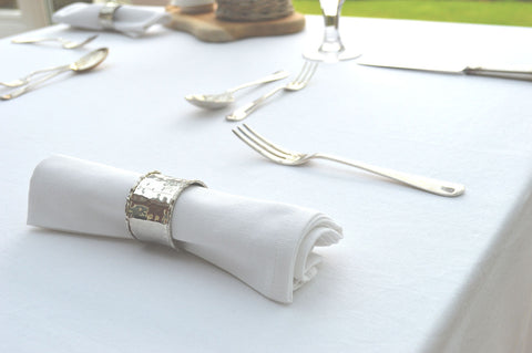 Tablecloth, 100% Cotton Plain Dyed Brilliant White 12 Sizes Square Round Oblong