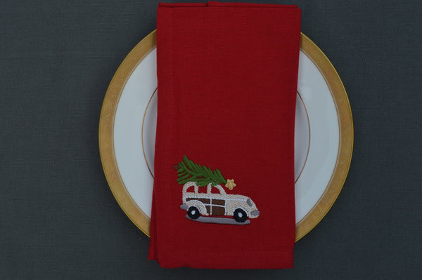 Christmas Napkins, Red with Embroidered Cream Car with Christmas Tree 41x41cm 16x16