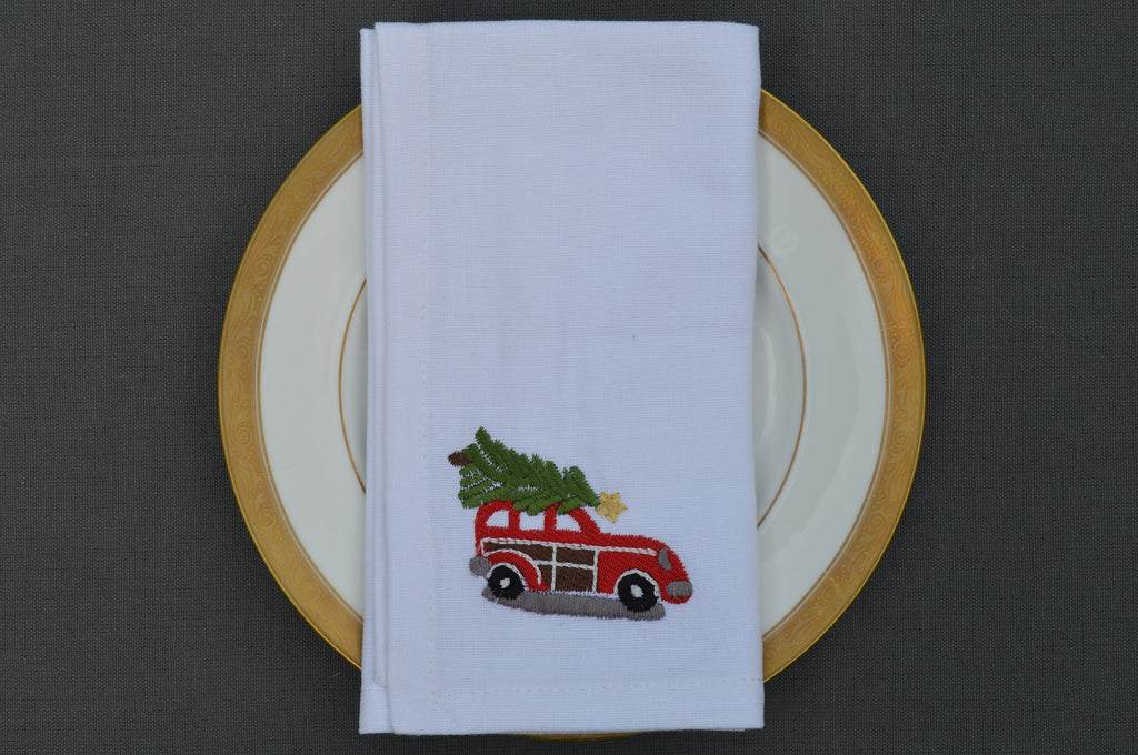 Christmas Napkins, White with Embroidered Red Car with Christmas tree on the Roof  41x41cm 16x16