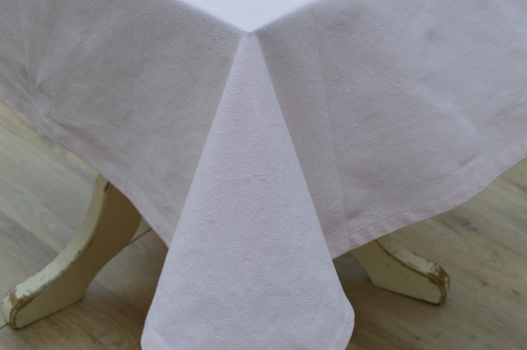 Tablecloth, 100% Cotton Oxford Chambray Blush Pink 12 Sizes Square Oblong Oval Round