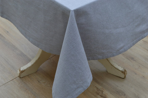 Tablecloth, 100% Cotton Oxford Chambray Pewter Grey 12 Sizes Square Oblong Oval Round